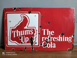 Rare Vintage Thums-up Refreshing Cola Advertising Enamel Sign Of 50's.
