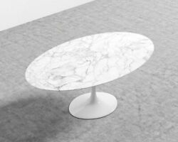 Rove Concepts Tulip Table Oval Black And White Carrara Marble 61 - No Base