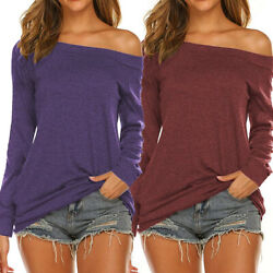 Women Off Shoulder Shirt Boat Neck Fall Casual Pullover Tops Long Sleeve T Shirt $12.20