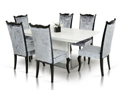 30 White Hardwood Mdf And Metal Dining Table