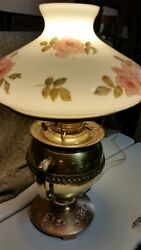 Antique Rayo Brass Oil Lamp Conv. Electric W/ Bandh 0444 Flowered Glass Shade