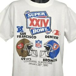 Super Bowl Xxiv T Shirt Vintage 90s 1990 49ers Broncos Made In Usa Size Large