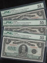 Canada Dc-25o 1 3 Consecutive Dominion Notes All Pmg 35 Epq About Unc Wln675