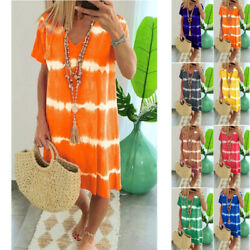 Women Summer Tie dye Short Sleeve V Neck Short Dress Loose Beach Casual Sundress $15.93