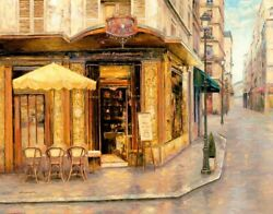 Art-print-liu-european-red-house-cafe-on-paper-canvas-or-framed