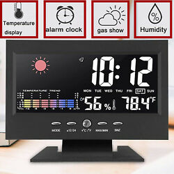 Desk Digital Alarm Clock Weather Thermometer Led Temperature Humidity Monitor