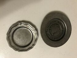 Vintage 2 Small Pewter Plates 5028 Town Of Nantucket Incorporated 1671