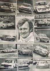 Signed John Fitzpatrick Racing Gt Champion 1972 1974 Poster Porsche Rs Ford Bmw
