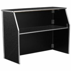 6ft Folding Bar Portable Event Party Rectangular Serving Table Black Marble