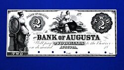 1800's 2 The Bank Of Augusta State Of Georgia Proof Obsolete Banknote Unc