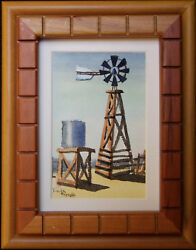 Windmill With Water Tank, Watercolor Miniature By Vivian Ashcraft