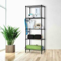 5 Tier Garage Storage Metal Rack Shelving Shelves Unit Standing Space Save USA