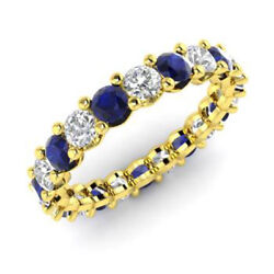 Solid 14kt Yellow Gold 2.03 Ct Natural Diamond Blue Sapphire Gemstone Rings