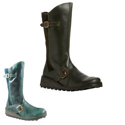 Fly London Womens Boots Mes Zip-up Mid-calf Biker Leather Suede