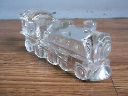 Rare Vintage Beautiful Locomotive Shape Glass Candy Container Of 50and039s..