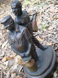 Lawrence Braun Watching Turn Seven Limited Edition Bronze Sculpture Usa