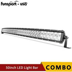 Curved 50inch 288w Led Light Bar Flood Spot Roof Driving Truck Rzr Suv 4wd 52''