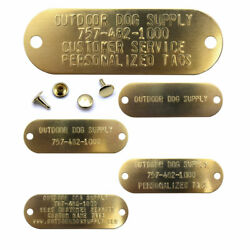 Large Custom Brass Name Plate Engraved Stamped Tag With Rivets For Dog Collars