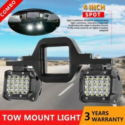 Tow Hitch Mounting Bracket W/ 4and039and039 Led Work Light Spot Pods 4-row Backup Reverse