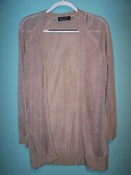 Magaschoni Womens Long Sleeve Sand Silver Semi Sher Cardigan Sweater Size S Nwt