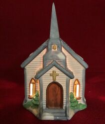 Christmas Village Church Light. Americana Porcelain Collectables. Hand Painted.