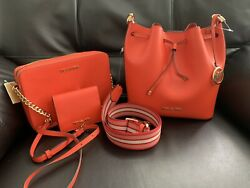 MICHAEL KORS EDEN MD BUCKET LEATHER SHOULDER BAG Jet Set crossbody Wallet $259.00