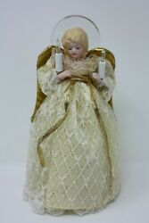 10 Light Angel W/ Porcelain, Hand Painted Head - 10 Tall Christmas Tree Topper