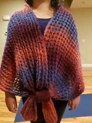 Hand-knitted Cape/shawl With Elegant Wool 08