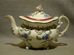 Staffordshire Gaudy Blue Flower Earthenware Footed Teapot And Cover 1800-30