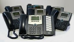 Cisco Spa504g 4-line Ip Phone W/ 2-port Switch Poe And Lcd Display Lot Of 7 Units