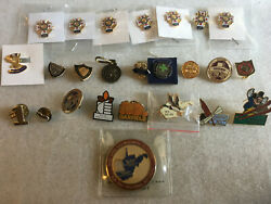 Vintage Us Military Lot 24 7 Ladies Vfw Pins, 1 Coin 1 Sterling And Gf Pins