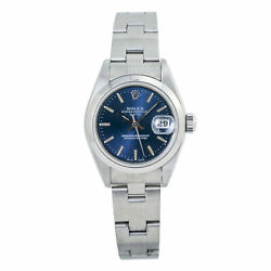 Rolex Date 79160 Automatic Oyster Bracelet Blue Dial Ss Ladies' Watch 26mm