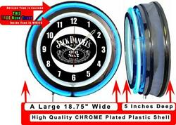Jack Daniel's Old Time No 7 Whiskey 19 Blue Double Neon Clock Man Cave Bar