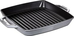 Staub Pure Grill Square Gray 28cm Grill Pan Ih Compatible 40511-684 From Japan