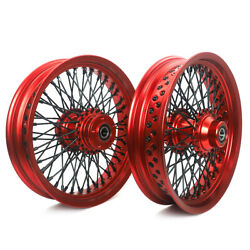 16x3.5 Red Front Rear Wheels Single Disc 72 Spoke For Sportster Dyna Touring