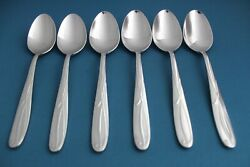 6 Place Oval Soup Spoons Mikasa Cocoa Blossom 18/10 Stainless Vietnam New 7 3/8