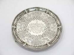 7 Sterling Silver Antique 18th Century English Heraldic Insignia Footed Salver