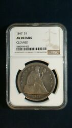 1847 Seated Dollar Ngc Au About Uncirculated Silver 1 Coin Priced To Sell Fast