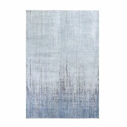 6'x8'10 Gray Ombre Design Pure Silk Hand Knotted Oriental Rug G59257