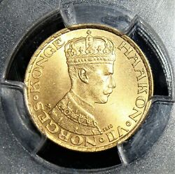 Norway Haakon Vii Gold 10 Kroner 1910 Ms66 Pcgs.