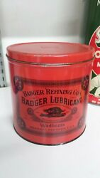Vintage Red Badger Lubricant Grease Oil Can Wadhams Socony Vacuum Nosstunning