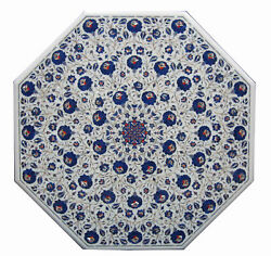 48 X 48 Marble Dining Table Top Lapis Floral Semi Precious Stones Inlay