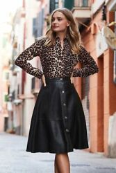 Buttoned Women Leather Skirt A Line Classic Leather Skirt Party Leather Skirt