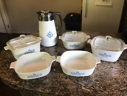 Vintage Blue Cornflower Corning Ware 10pc Set