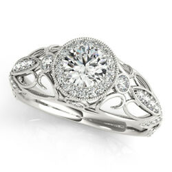 1.30 Ct Round Cut Diamond Engagement Rings For Her 14k White Gold Size 5 6 7 8.5