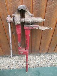 Vintage Blacksmith 39 Long Weighs 55 Pounds Post Leg Stump Vise With 5 Jaws