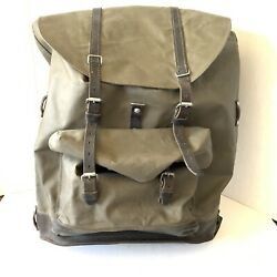 Vintage Swiss Army Rubberized Mountain Military Rucksack Backpack Leather Straps