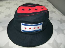 CITY OF CHICAGO FLAG embroidered black bucket hat #x27;47 BRAND $14.00