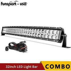 Curved 32inch 180w Led Light Bar Offroad Spot Flood Combo Truck Slim+wiring Kit