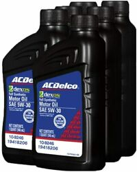 6 Pack Acdelco 19418206 Gm Original Dexos1 5w-30 Full Synthetic Motor Oil New